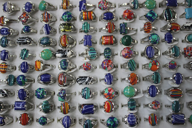 Fashion wholesale lots 30pcs malachite stone&silver p Colorful Women's rings