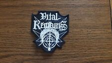 VITAL REMAINS,SEW ON WHITE EMBROIDERED PATCH