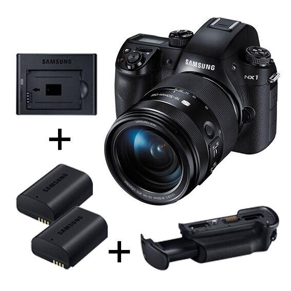 Samsung NX1 4K  k/w 16-50mm S lens +Grip + Charger Smart Value Pack -Fedex USA