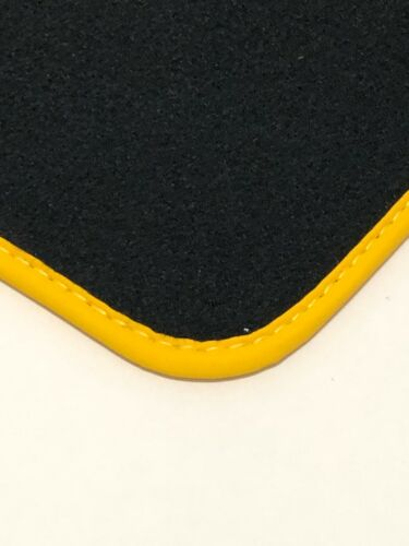 Fußmatten passend für Porsche 911 997 Velours Deluxe anthrazit Nubukband gelb