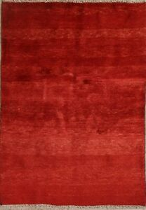 Thick-Pile-Solid-Gabbeh-Modern-3-039-x5-039-Hand-Knotted-Oriental-Carpet-Wool-Area-Rug