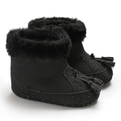 Newborn Baby Boys Girls Soft Shoes Booties Tassels Snow Boots Toddler Warm Shoes