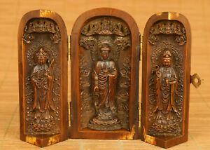 chinese old boxwood hand carved Buddha Guanyin statue figure box decoration gift