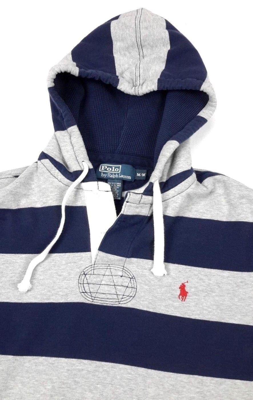 Polo Ralph Lauren  Herren Henley Blau grau Stripe Fleece Hoodie Sweatshirt Medium