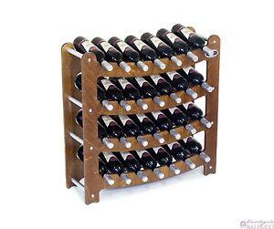 Cantinetta portabottiglie legno noce da 28 posti vino ebay - Costruire un portabottiglie in legno ...