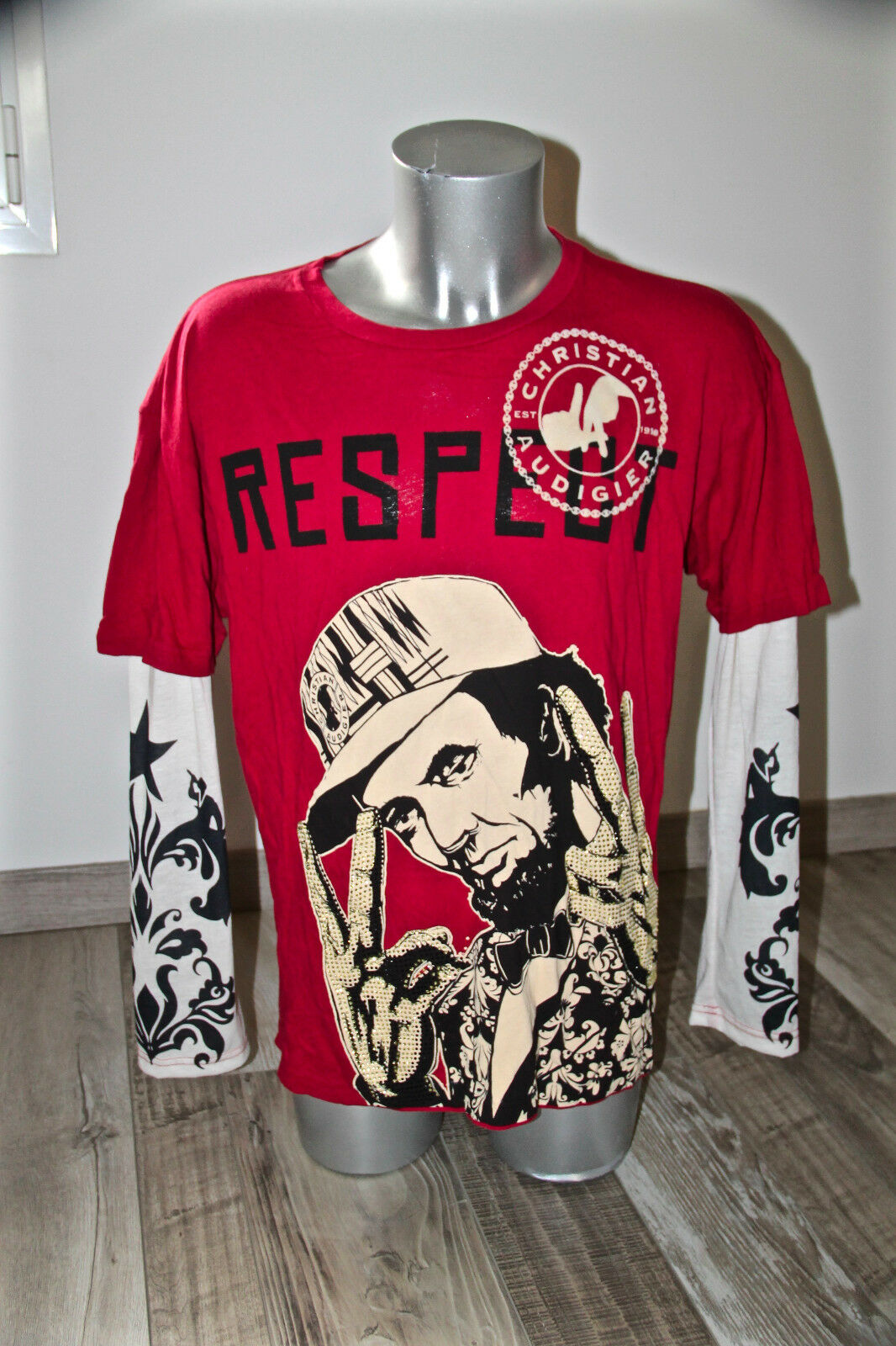 Sudadera superpuesto strass CHRISTIAN AUDIGIER modelo respect T XL NUEVO valor