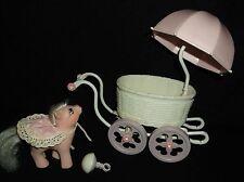 Vintage Toy Retro My little Pony , Baby with Pram & rattle