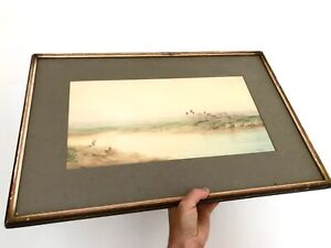 Antique-Original-Watercolour-Painting-Egyptian-Landscape-Signed-FF-Ogilvie-1900