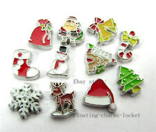 10pcs Mixed  Christmas  Floating Charms for Glass Locket Free Shipping FC321