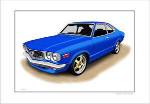 Details About Mazda Rx3 Coupe 13a 13b Limited Edition Car Drawing Print 9 Car Colours