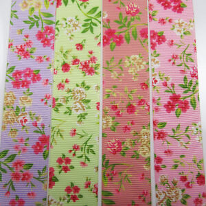 GROSGRAIN-RIBBON-10-16-25-38mm-4-COLOURS-VINTAGE-FLORAL-SHABBY-CHIC-WEDDING