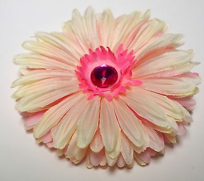Retro Hair Alligator Clip Large Daisy Pinup Flower Barrette Coral Lime Pink Blue