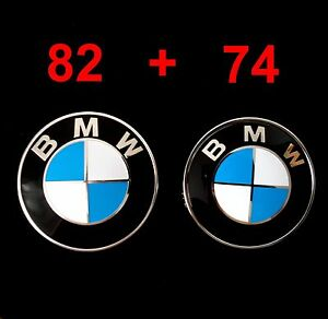 bmw 82mm emblem abdeckung motorhaube heckklappe plakette. Black Bedroom Furniture Sets. Home Design Ideas