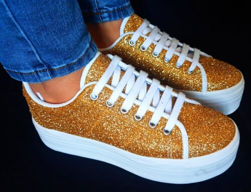 Gold Campbell Style Scarpe Zeppa Sneaker Jeffrey Oro Casual Zomg Glitter Donna wHfCqF