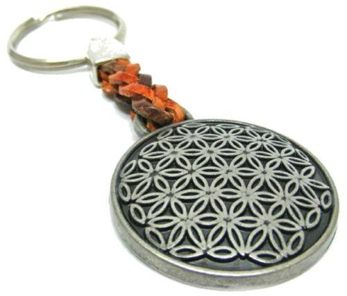 Blume des Lebens mit Lederband-Metall matt-Schlüsselanhänger-Keyholder-Keyrings