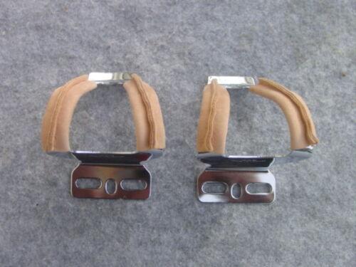 MKS ACCIAIO MINI GANCIO pedali con protezione in PELLE HALF Clip Nero o Marrone