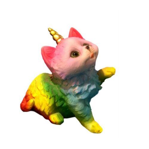 New 1pc 10cm Rainbow Princess Cat Kitten Figurines Ornament Home Decor Xmas Gift
