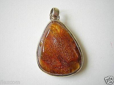Honig Roh Natur Bernstein 925 Silber Anhänger 6,9 G Genuine Amber Mild And Mellow Mineralien & Fossilien Bernstein