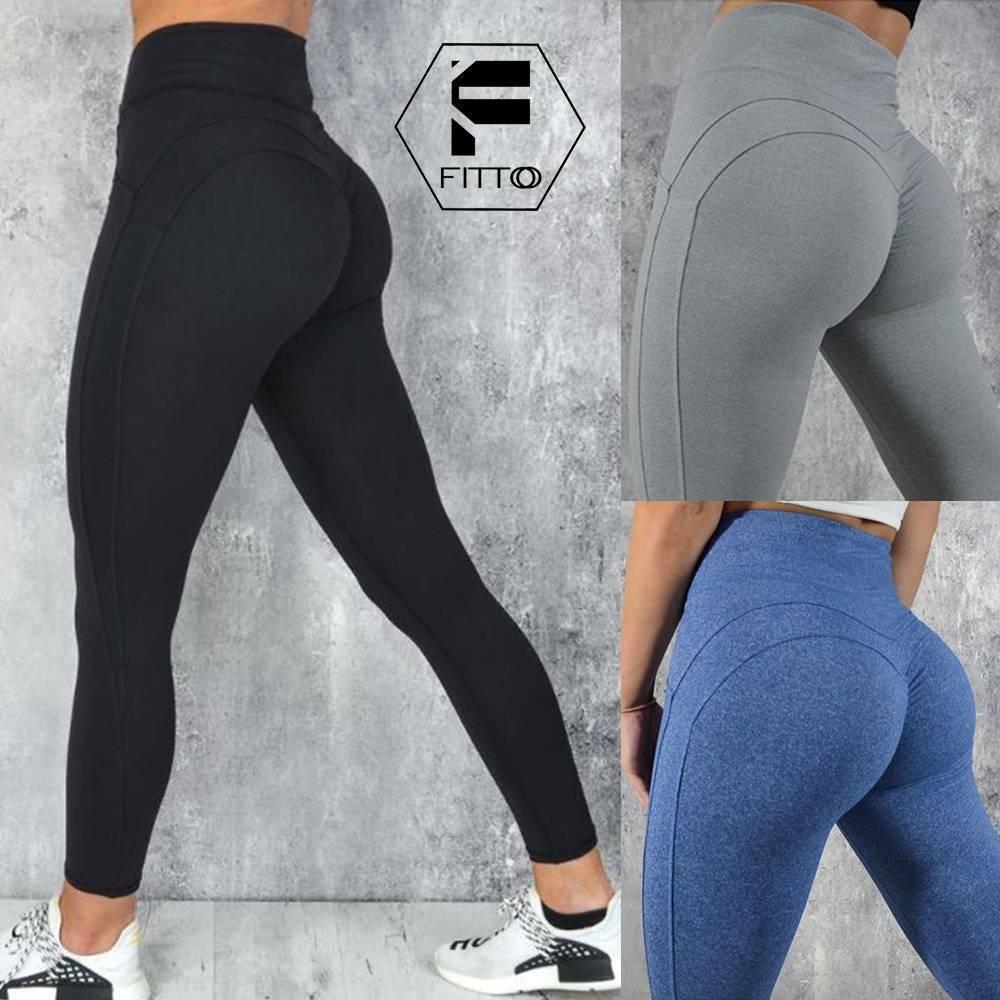 Womens High Waist Sports Yoga Pants Gym Push Up Leggings Ruched Elastic Trousers