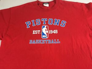 Detroit-Pistons-T-Shirt-Mens-XL-Cotton-Tee-NBA-Basketball-Established-1948-Red