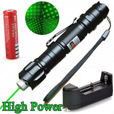 High Power Military 10 Miles 532nm Green Laser Pointer Pen Visible Cap+Battery