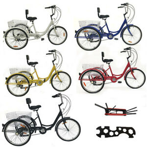 Shimano-7-Speed-3Wheel-24-034-Adult-Tricycle-Trike-Cruise-Bike-Bicycle-With-Basket