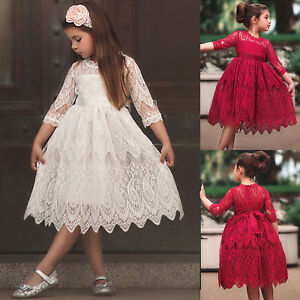 Kids Flower Girls Lace Princess Bridesmaid Dress Party Pageant Formal Gown Dress