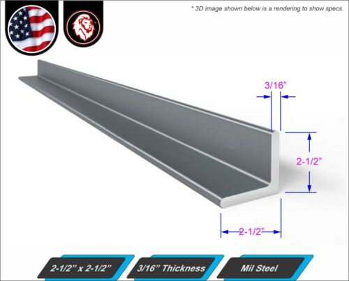 """2-1//2/"""" x 2-1//2/"""" 3//16/"""" thickness Mild Steel Angle 12/"""" Inch Long"""