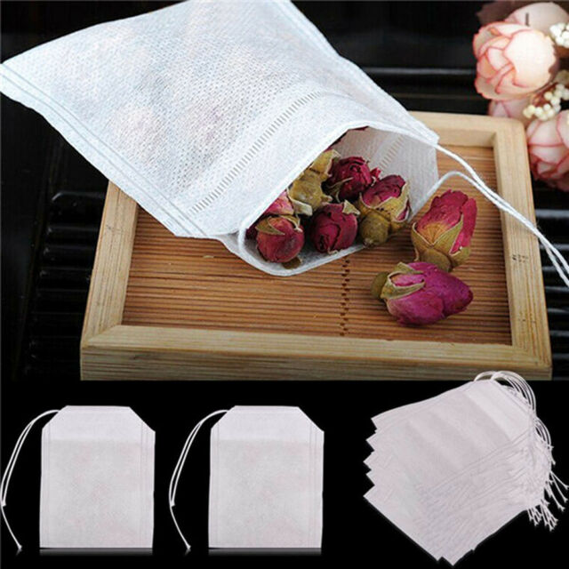 Empty Teabags 100X non-woven String Heat Seal Filter Paper Herb Loose Tea Bag