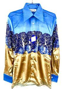 VTG Burma Mens 1970s Disco Slinky Shirt Nylon NOS S M  L  Asian Birds Colors