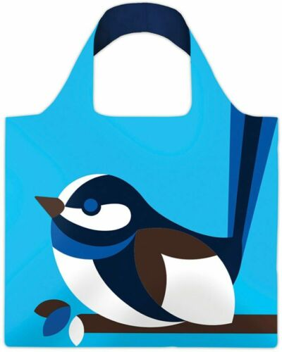 FOLD-UP SHOPPING CARRY REUSABLE TOTE BAG AUSTRALIAN FAIRY BLUE WREN BIRD