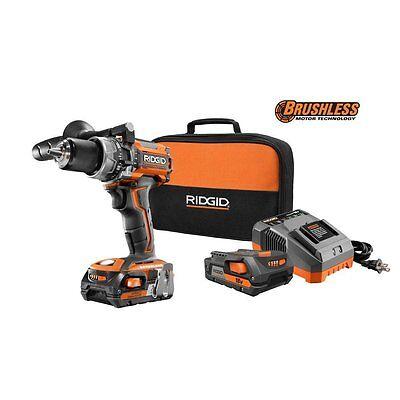 """Ridgid 18-V Two Battery Lithium-Ion 1/2"""" Brushless Hammer Drill kit R86116K"""