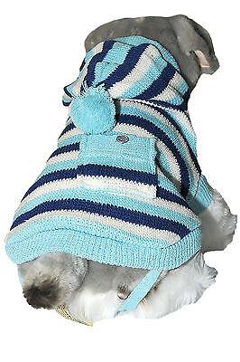 Blue Striped Dog Hoodie Knitted Jumper Coat - Back Length: 30cm, 35cm & 40cm