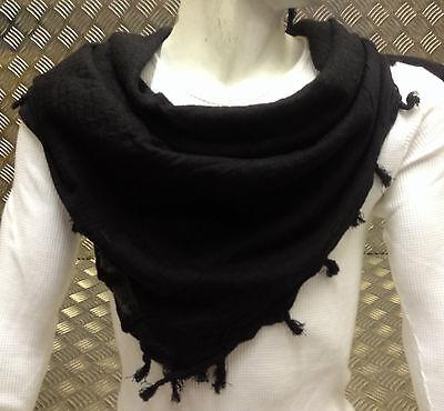 Apprensivo 100% Cotton Shemagh / Arab Sciarpa/pashmina/avvolgente/sarong. Nero - Nuovo Ulteriori Sorprese