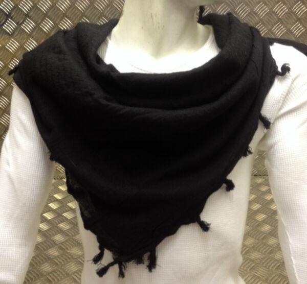 100% Cotton Shemagh / Árabe Bufanda Pashmina/envoltura/sarong. Negro - Nuevo