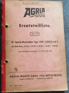 Business & Industrie Genial Agria Spezial Motormäher Typ 1300 2300 R Und Z Ersatzteilliste 50/13 Jahre Lang StöRungsfreien Service GewäHrleisten