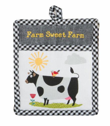 Kay Dee Designs Embroidered FARM SWEET FARM Cotton Pocket Mitt//Potholder Cow
