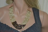 Fossil Brand Horn & Tortoise Barrel Beads Statement Fashion Pendant Necklace $98