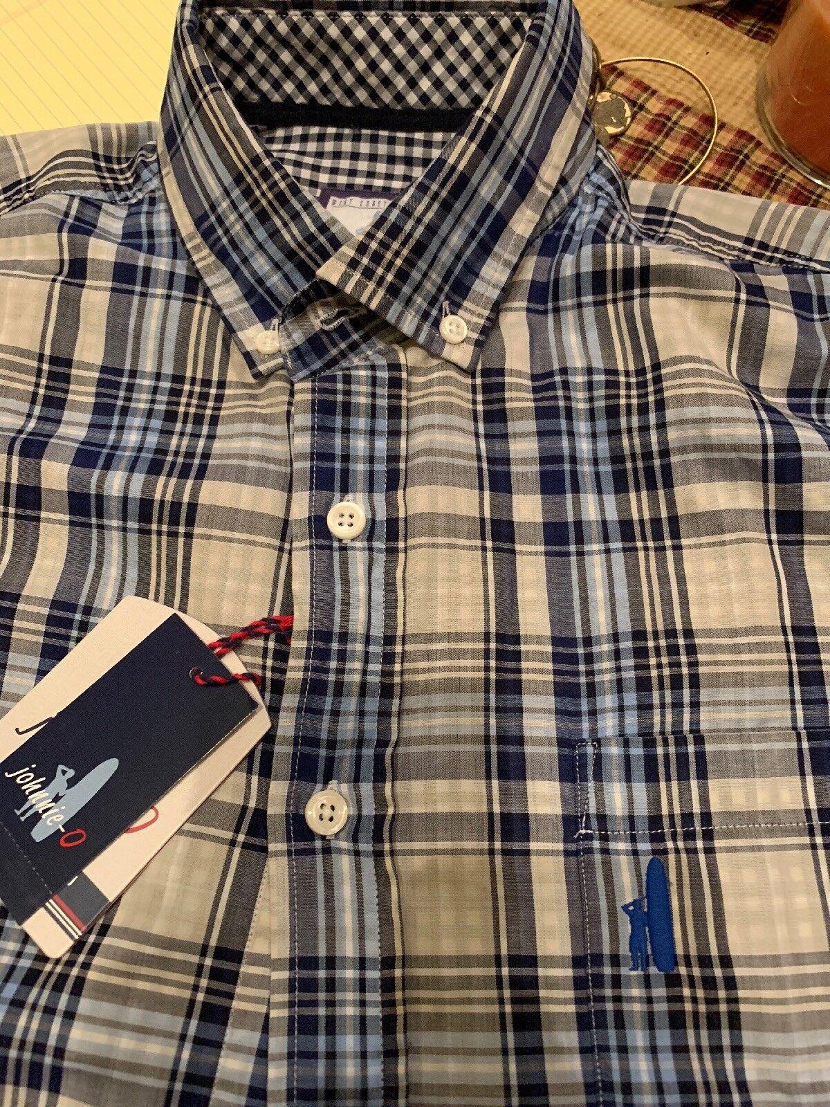 Johnnie O Medium bluee Plaid L S Button Down Shirt NWT