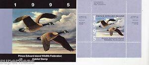 PEW1 1995 PEI Wildlife Federation Habitat folder & Canada Goose stamp
