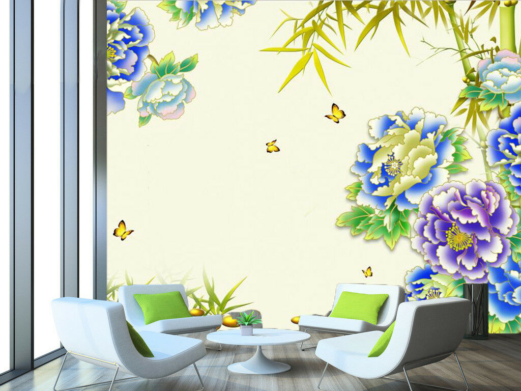 3D Blau Flower Plant 8 Wallpaper Mural Wall Print Wall Wallpaper Murals US Carly