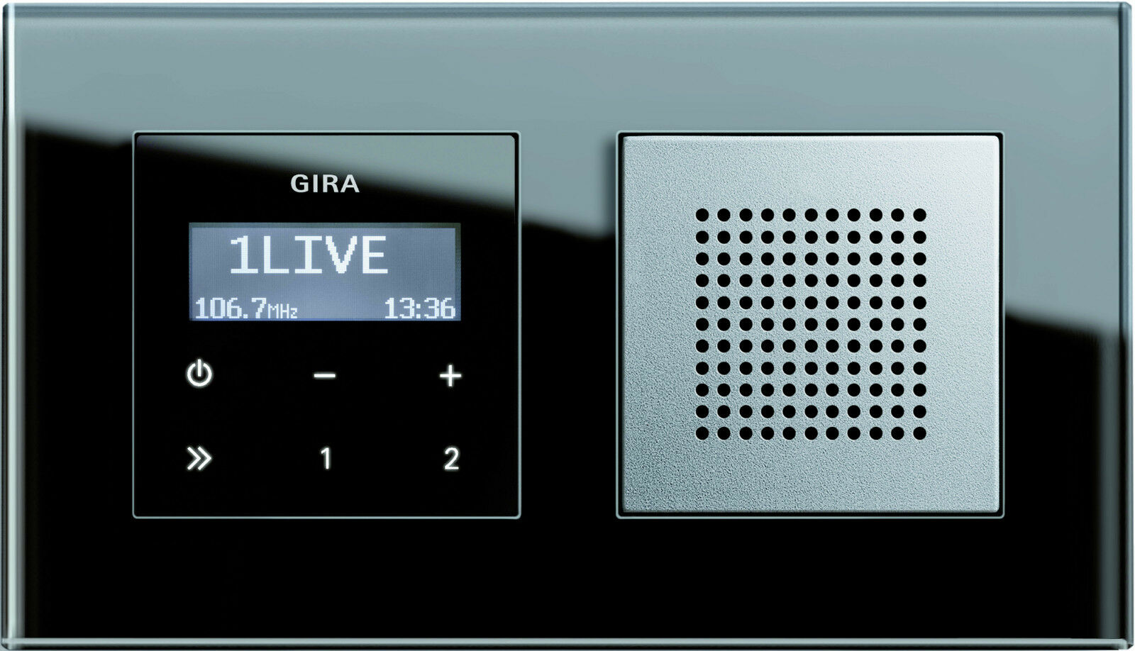 Gira RDS Unterputz-Radio Schwarzglasoptik mit Lautsprecher und Glasrahmen