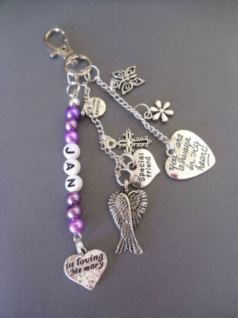 In memory, family loss bag charm/keyring, you are always in my heart, angel wing
