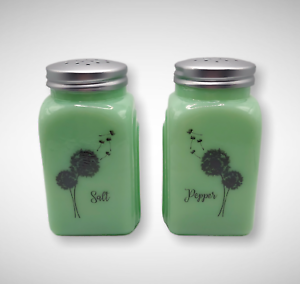 JADEITE GREEN DEPRESSION STYLE GLASS ROMAN ARCHES SALT & PEPPER SHAKERS, Jar