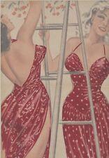 """""""PIN-UP et CERISES""""Affiche originale entoilée Offset Roger BRARD 1950-51 34x51cm"""