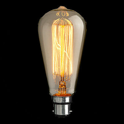 Vintage loop carbon filament light bulb   Edison style 40 w 60 w BC MLL006