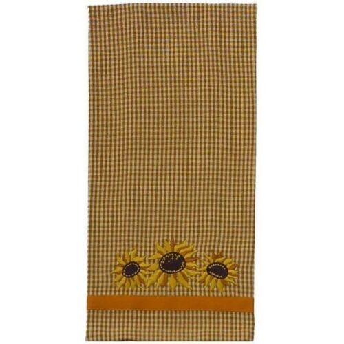 New Country Primitive Mustard EMBROIDERED SUNFLOWER Dish Tea Hand Towel