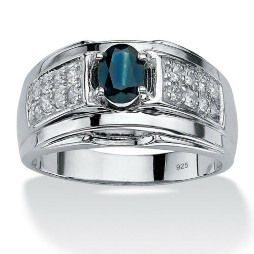 Details about  /925 Sterling Silver Natural Blue Sapphire White Topaz Men/'s Ring Jewelry Us 7 8