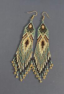 Lungo Nativi Americani Stile Perline Orecchini (in vendita)