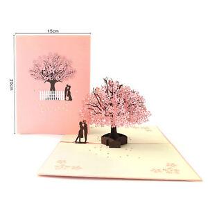 3D-Pop-Up-Greeting-Card-Birthday-Wedding-Valentine-039-s-Day-Romance-Cherry-Love